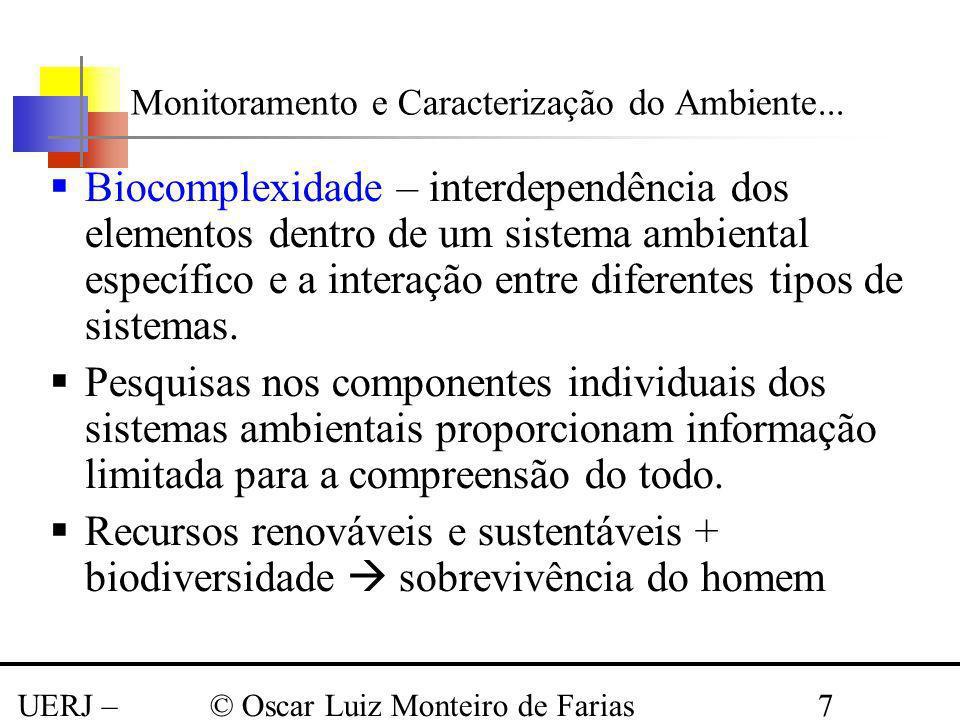 UERJ – Março 2008 © Oscar Luiz Monteiro de Farias7 Biocomplexidade – interdependência dos elementos dentro de um sistema ambiental específico e a inte