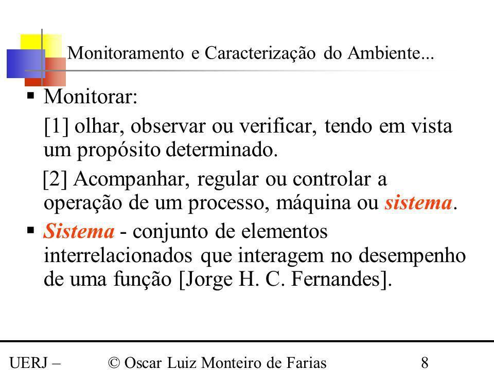 UERJ – Março 2008 © Oscar Luiz Monteiro de Farias8 Monitorar: [1] olhar, observar ou verificar, tendo em vista um propósito determinado. [2] Acompanha