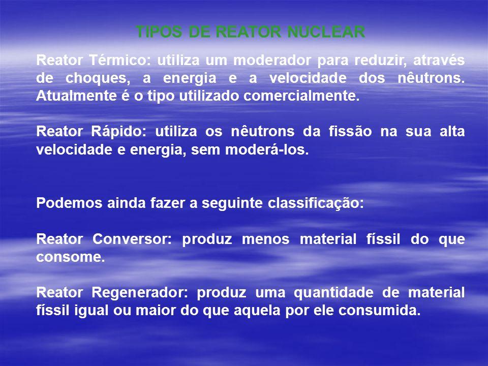Reator Térmico: utiliza um moderador para reduzir, através de choques, a energia e a velocidade dos nêutrons. Atualmente é o tipo utilizado comercialm