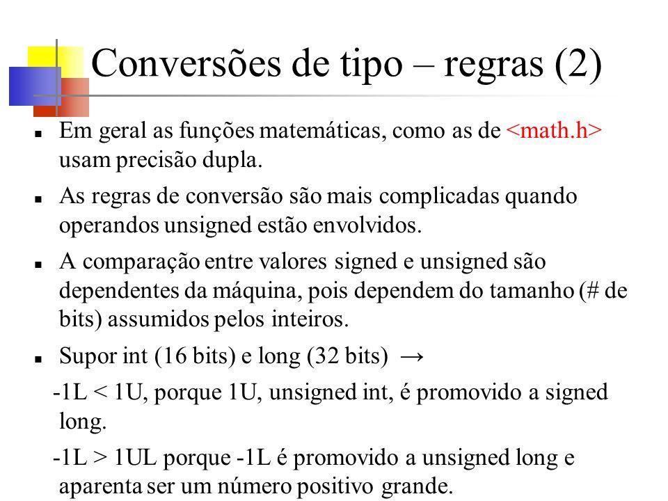 Conversões de tipo – regras (2) Em geral as funções matemáticas, como as de usam precisão dupla. As regras de conversão são mais complicadas quando op