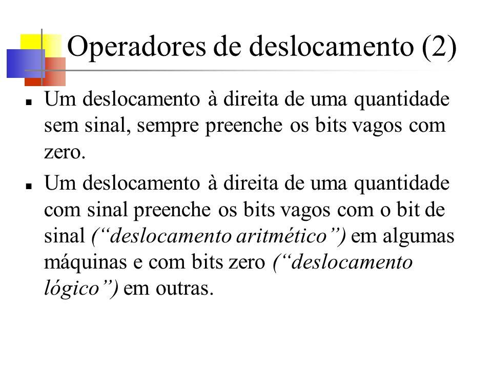 Operadores de deslocamento (2) Um deslocamento à direita de uma quantidade sem sinal, sempre preenche os bits vagos com zero. Um deslocamento à direit
