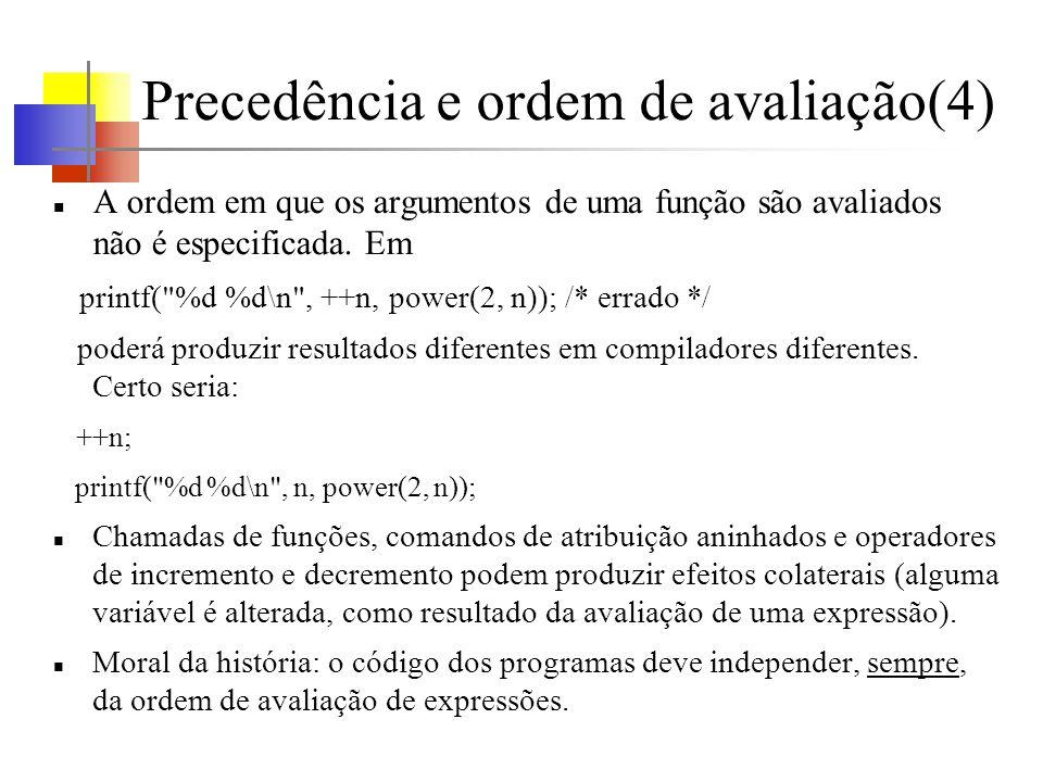 Precedência e ordem de avaliação(4) A ordem em que os argumentos de uma função são avaliados não é especificada. Em printf(