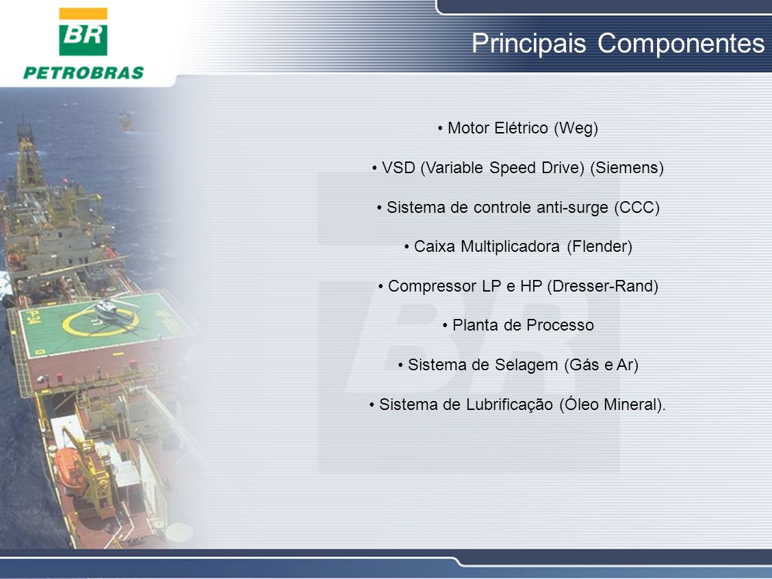 Principais Componentes Motor Elétrico (Weg) VSD (Variable Speed Drive) (Siemens) Sistema de controle anti-surge (CCC) Caixa Multiplicadora (Flender) C