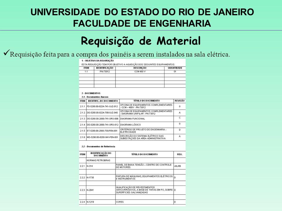 Requisição de Material Requisição feita para a compra dos painéis a serem instalados na sala elétrica. UNIVERSIDADE DO ESTADO DO RIO DE JANEIRO FACULD