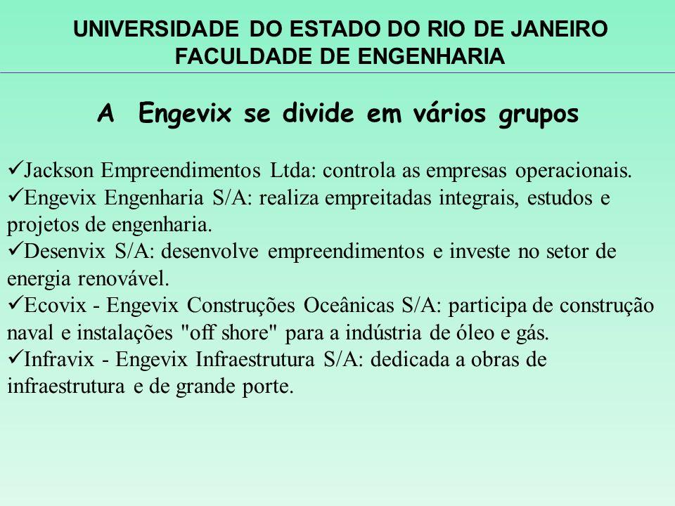 A Engevix se divide em vários grupos Jackson Empreendimentos Ltda: controla as empresas operacionais. Engevix Engenharia S/A: realiza empreitadas inte
