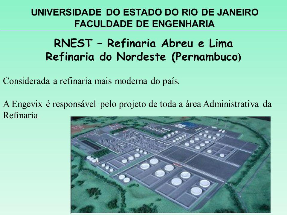 RNEST – Refinaria Abreu e Lima Refinaria do Nordeste (Pernambuco ) Considerada a refinaria mais moderna do país. A Engevix é responsável pelo projeto
