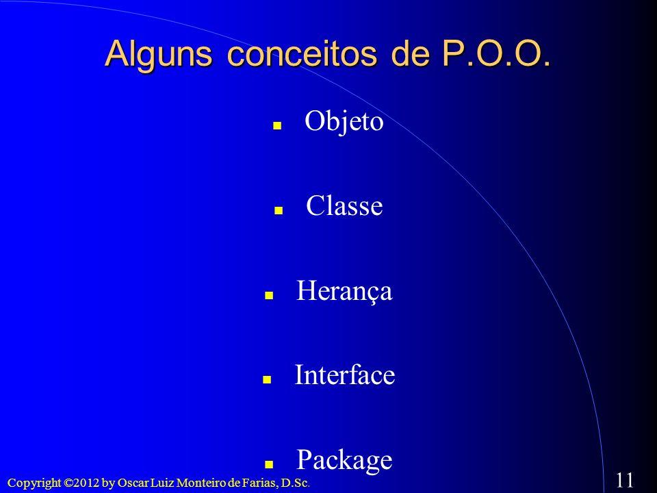Copyright ©2012 by Oscar Luiz Monteiro de Farias, D.Sc. 11 Alguns conceitos de P.O.O. Objeto Classe Herança Interface Package