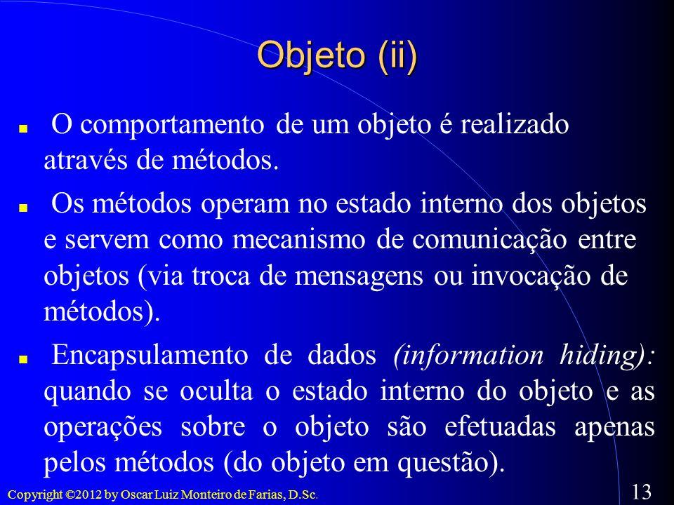 Copyright ©2012 by Oscar Luiz Monteiro de Farias, D.Sc. 13 Objeto (ii) O comportamento de um objeto é realizado através de métodos. Os métodos operam