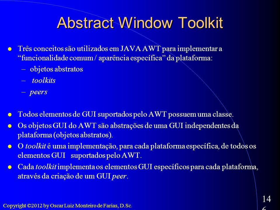 Copyright ©2012 by Oscar Luiz Monteiro de Farias, D.Sc. 146 Três conceitos são utilizados em JAVA AWT para implementar a funcionalidade comum / aparên