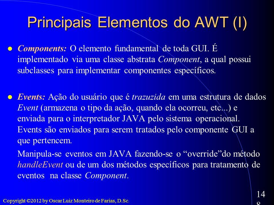 Copyright ©2012 by Oscar Luiz Monteiro de Farias, D.Sc. 148 Principais Elementos do AWT (I) Components: O elemento fundamental de toda GUI. É implemen