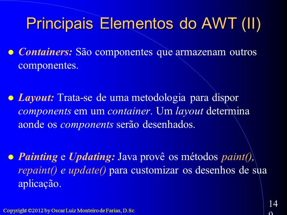 Copyright ©2012 by Oscar Luiz Monteiro de Farias, D.Sc. 149 Containers: São componentes que armazenam outros componentes. Layout: Trata-se de uma meto