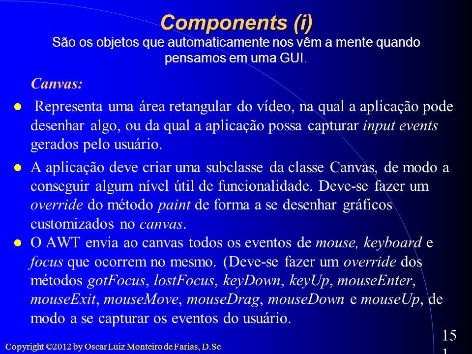 Copyright ©2012 by Oscar Luiz Monteiro de Farias, D.Sc. 151 Components (i) Components (i) São os objetos que automaticamente nos vêm a mente quando pe