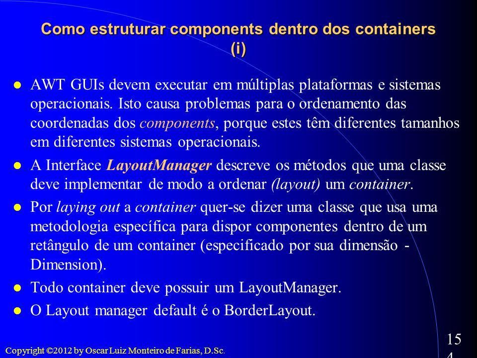 Copyright ©2012 by Oscar Luiz Monteiro de Farias, D.Sc. 154 Como estruturar components dentro dos containers (i) AWT GUIs devem executar em múltiplas