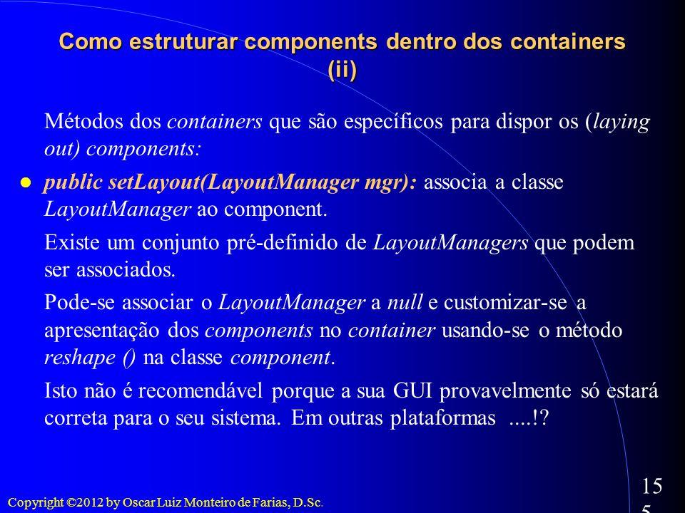 Copyright ©2012 by Oscar Luiz Monteiro de Farias, D.Sc. 155 Métodos dos containers que são específicos para dispor os (laying out) components: public