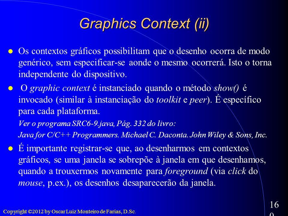 Copyright ©2012 by Oscar Luiz Monteiro de Farias, D.Sc. 160 Os contextos gráficos possibilitam que o desenho ocorra de modo genérico, sem especificar-
