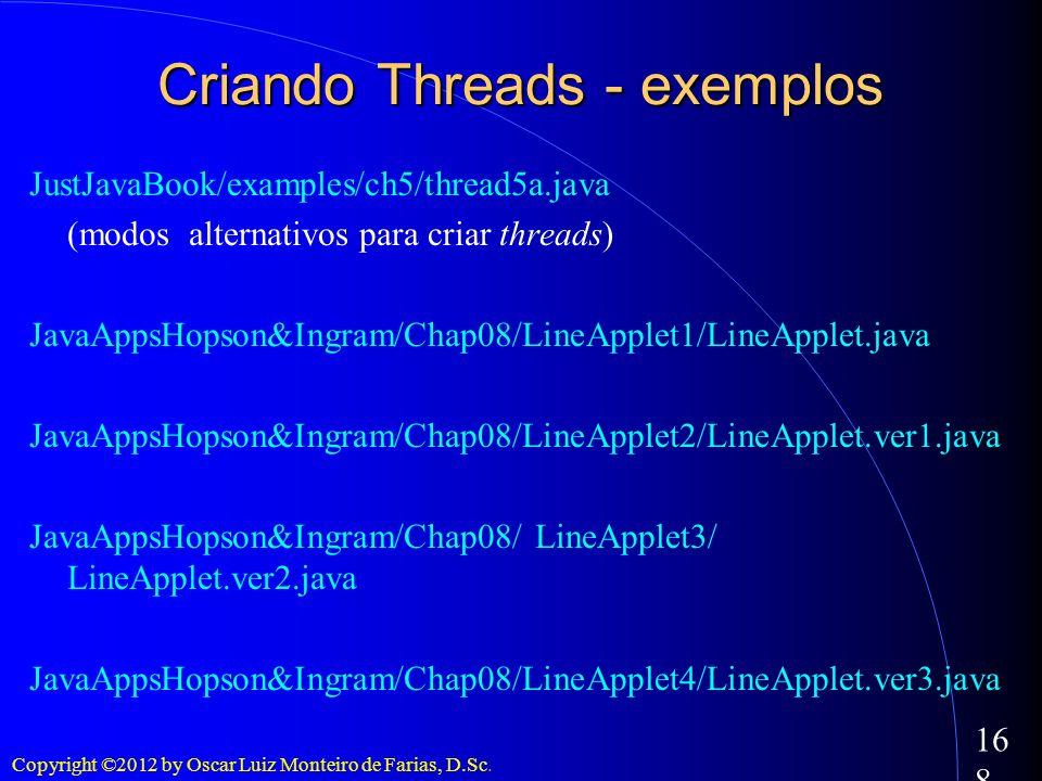 Copyright ©2012 by Oscar Luiz Monteiro de Farias, D.Sc. 168 Criando Threads - exemplos JustJavaBook/examples/ch5/thread5a.java (modos alternativos par