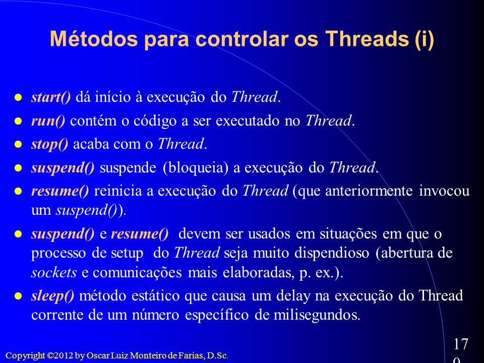 Copyright ©2012 by Oscar Luiz Monteiro de Farias, D.Sc. 170 start() dá início à execução do Thread. run() contém o código a ser executado no Thread. s