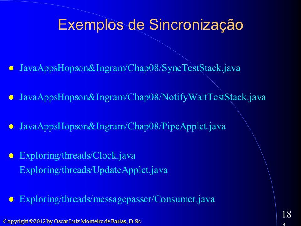 Copyright ©2012 by Oscar Luiz Monteiro de Farias, D.Sc. 184 Exemplos de Sincronização JavaAppsHopson&Ingram/Chap08/SyncTestStack.java JavaAppsHopson&I