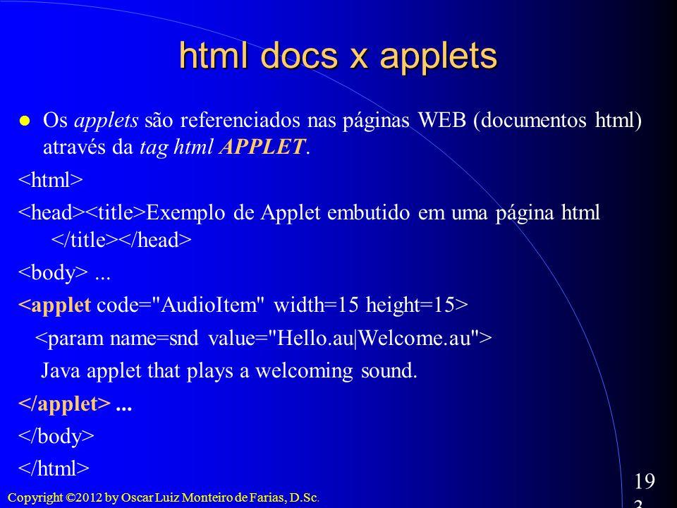 Copyright ©2012 by Oscar Luiz Monteiro de Farias, D.Sc. 193 html docs x applets Os applets são referenciados nas páginas WEB (documentos html) através