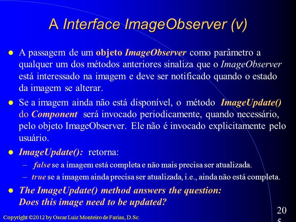 Copyright ©2012 by Oscar Luiz Monteiro de Farias, D.Sc. 205 A passagem de um objeto ImageObserver como parâmetro a qualquer um dos métodos anteriores