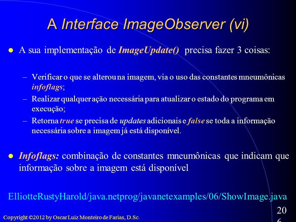 Copyright ©2012 by Oscar Luiz Monteiro de Farias, D.Sc. 206 A sua implementação de ImageUpdate() precisa fazer 3 coisas: –Verificar o que se alterou n