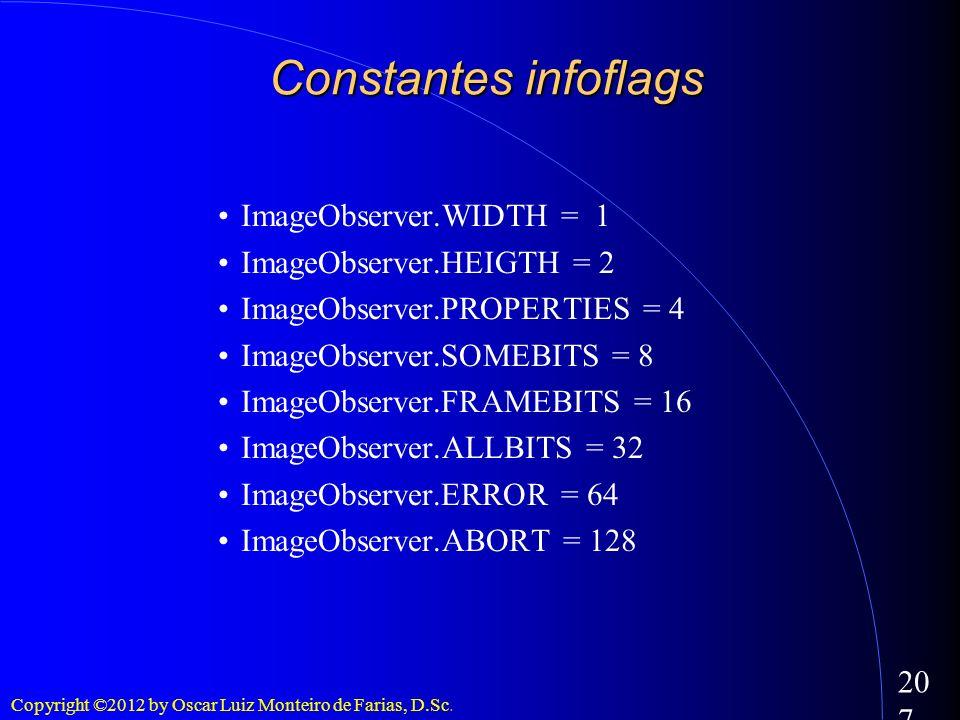 Copyright ©2012 by Oscar Luiz Monteiro de Farias, D.Sc. 207 ImageObserver.WIDTH = 1 ImageObserver.HEIGTH = 2 ImageObserver.PROPERTIES = 4 ImageObserve