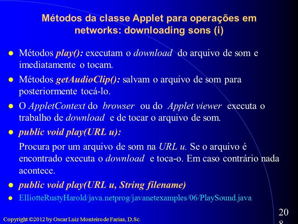 Copyright ©2012 by Oscar Luiz Monteiro de Farias, D.Sc. 208 Métodos play(): executam o download do arquivo de som e imediatamente o tocam. Métodos get