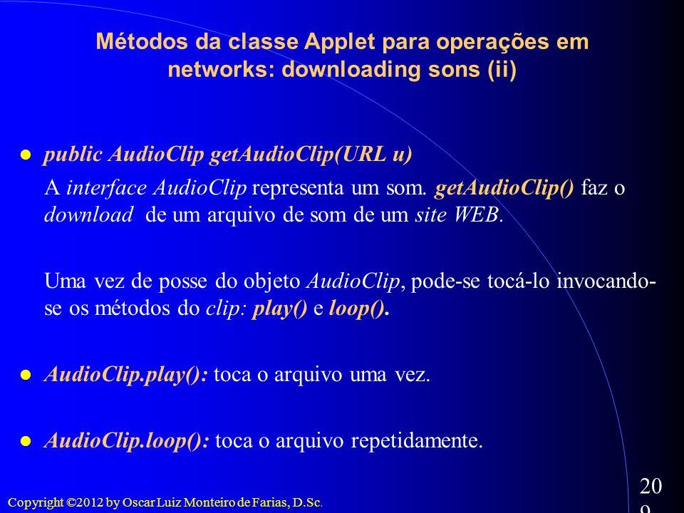 Copyright ©2012 by Oscar Luiz Monteiro de Farias, D.Sc. 209 public AudioClip getAudioClip(URL u) A interface AudioClip representa um som. getAudioClip