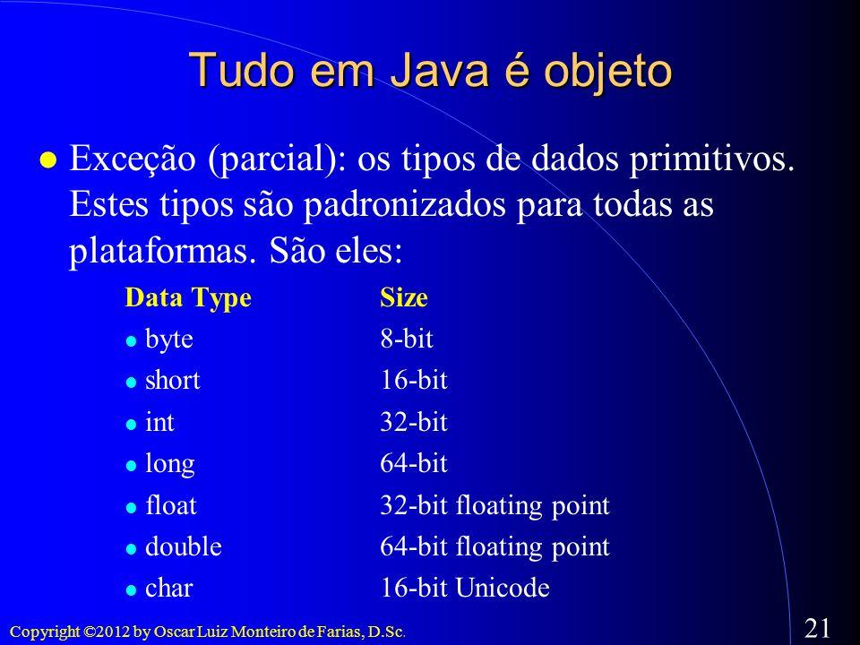 Copyright ©2012 by Oscar Luiz Monteiro de Farias, D.Sc. 21 Tudo em Java é objeto Exceção (parcial): os tipos de dados primitivos. Estes tipos são padr
