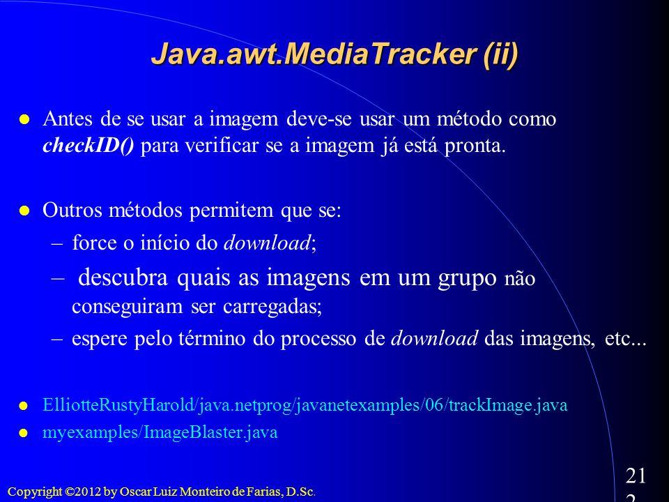 Copyright ©2012 by Oscar Luiz Monteiro de Farias, D.Sc. 212 Antes de se usar a imagem deve-se usar um método como checkID() para verificar se a imagem