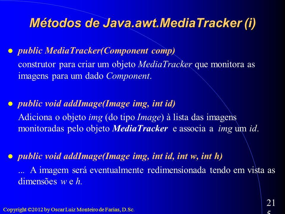 Copyright ©2012 by Oscar Luiz Monteiro de Farias, D.Sc. 215 public MediaTracker(Component comp) construtor para criar um objeto MediaTracker que monit