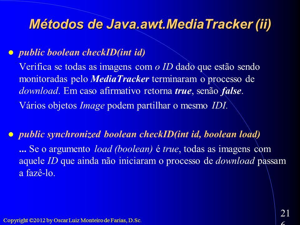 Copyright ©2012 by Oscar Luiz Monteiro de Farias, D.Sc. 216 public boolean checkID(int id) Verifica se todas as imagens com o ID dado que estão sendo