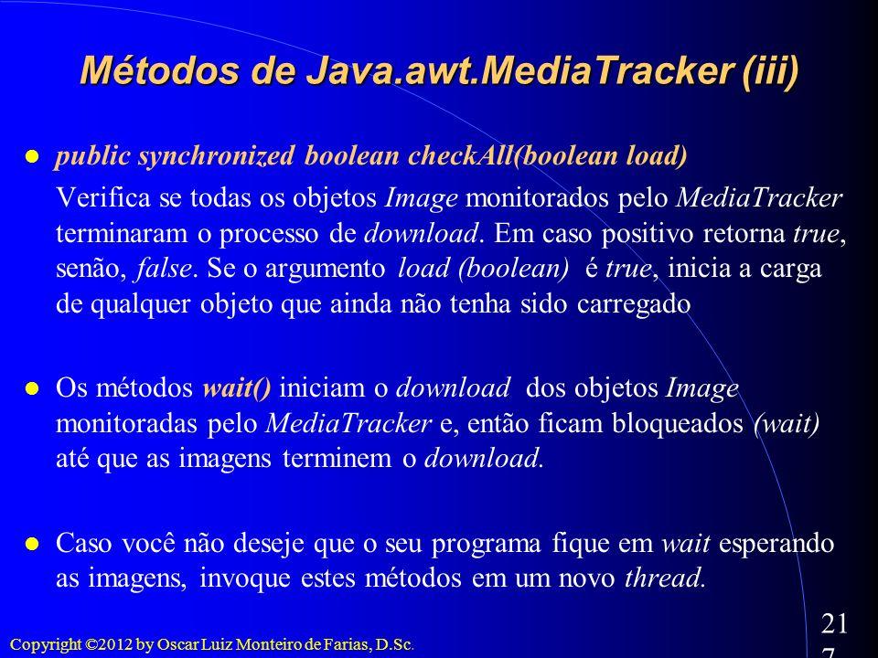 Copyright ©2012 by Oscar Luiz Monteiro de Farias, D.Sc. 217 public synchronized boolean checkAll(boolean load) Verifica se todas os objetos Image moni