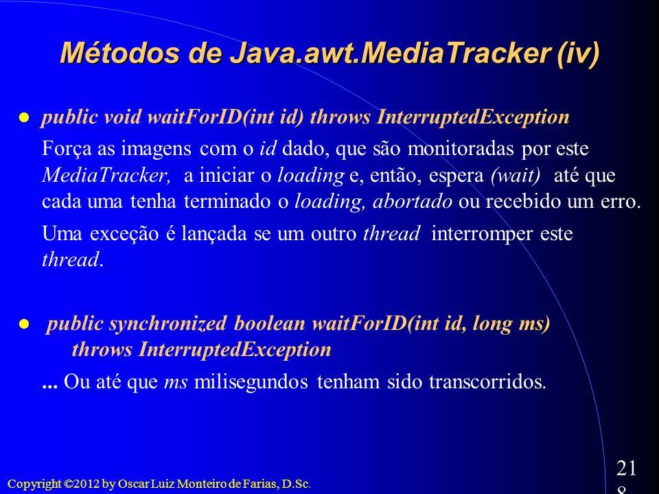 Copyright ©2012 by Oscar Luiz Monteiro de Farias, D.Sc. 218 public void waitForID(int id) throws InterruptedException Força as imagens com o id dado,