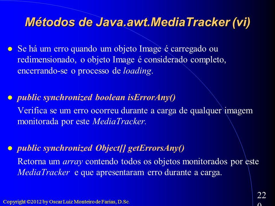 Copyright ©2012 by Oscar Luiz Monteiro de Farias, D.Sc. 220 Se há um erro quando um objeto Image é carregado ou redimensionado, o objeto Image é consi