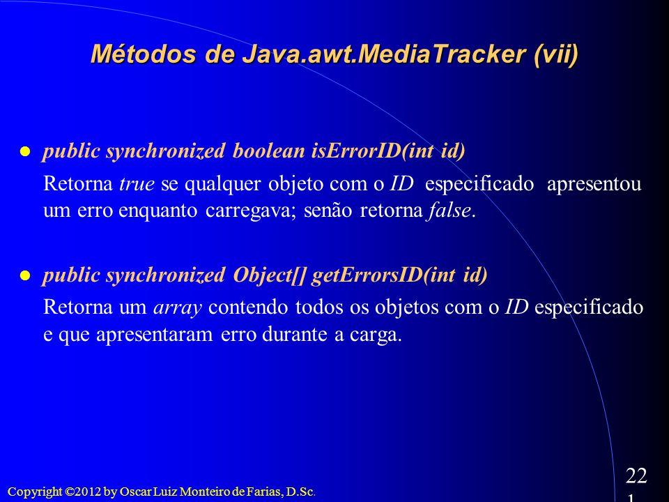 Copyright ©2012 by Oscar Luiz Monteiro de Farias, D.Sc. 221 public synchronized boolean isErrorID(int id) Retorna true se qualquer objeto com o ID esp