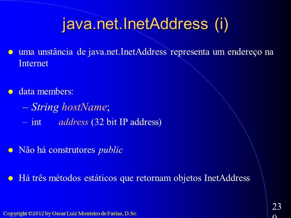 Copyright ©2012 by Oscar Luiz Monteiro de Farias, D.Sc. 230 java.net.InetAddress (i) uma unstância de java.net.InetAddress representa um endereço na I