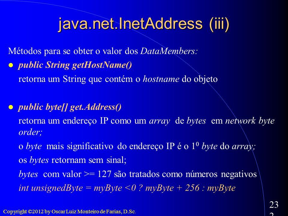 Copyright ©2012 by Oscar Luiz Monteiro de Farias, D.Sc. 232 java.net.InetAddress (iii) Métodos para se obter o valor dos DataMembers: public String ge