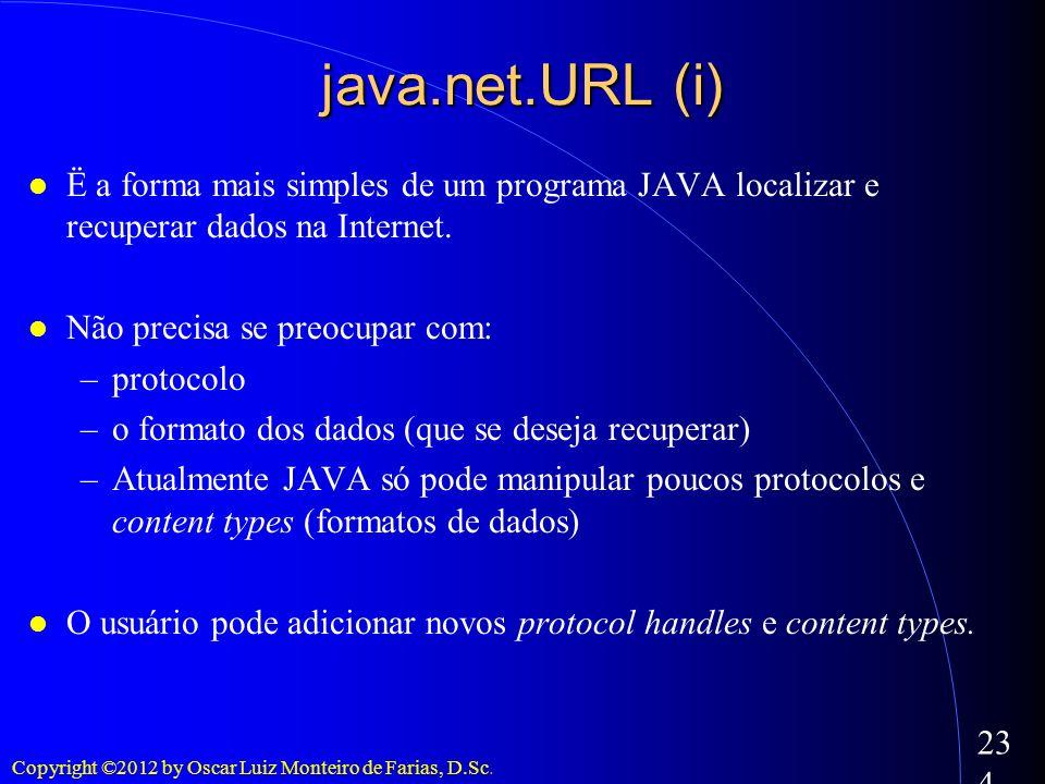 Copyright ©2012 by Oscar Luiz Monteiro de Farias, D.Sc. 234 java.net.URL (i) Ë a forma mais simples de um programa JAVA localizar e recuperar dados na