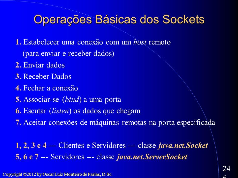 Copyright ©2012 by Oscar Luiz Monteiro de Farias, D.Sc. 246 Operações Básicas dos Sockets 1. Estabelecer uma conexão com um host remoto (para enviar e