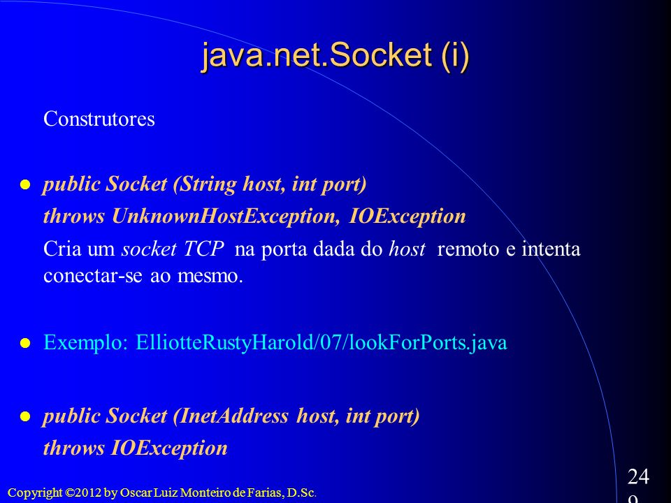 Copyright ©2012 by Oscar Luiz Monteiro de Farias, D.Sc. 249 java.net.Socket (i) Construtores public Socket (String host, int port) throws UnknownHostE