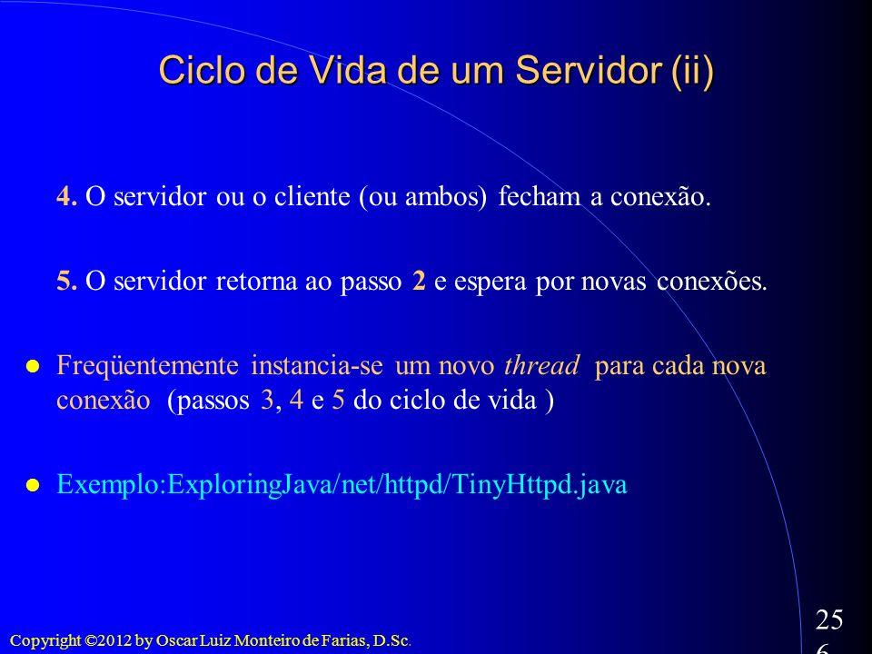 Copyright ©2012 by Oscar Luiz Monteiro de Farias, D.Sc. 256 4. O servidor ou o cliente (ou ambos) fecham a conexão. 5. O servidor retorna ao passo 2 e