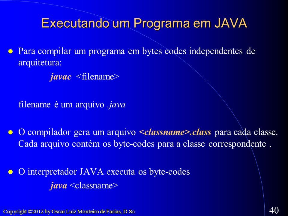 Copyright ©2012 by Oscar Luiz Monteiro de Farias, D.Sc. 40 Executando um Programa em JAVA Para compilar um programa em bytes codes independentes de ar