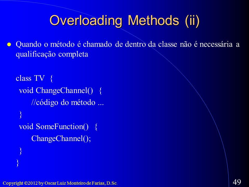 Copyright ©2012 by Oscar Luiz Monteiro de Farias, D.Sc. 49 Quando o método é chamado de dentro da classe não é necessária a qualificação completa clas