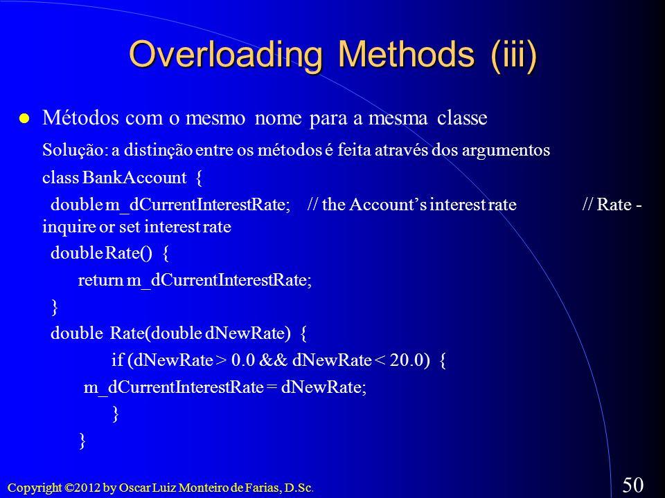 Copyright ©2012 by Oscar Luiz Monteiro de Farias, D.Sc. 50 Métodos com o mesmo nome para a mesma classe Solução: a distinção entre os métodos é feita