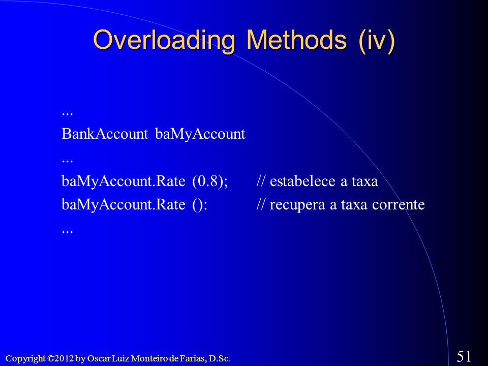 Copyright ©2012 by Oscar Luiz Monteiro de Farias, D.Sc. 51... BankAccount baMyAccount... baMyAccount.Rate (0.8);// estabelece a taxa baMyAccount.Rate