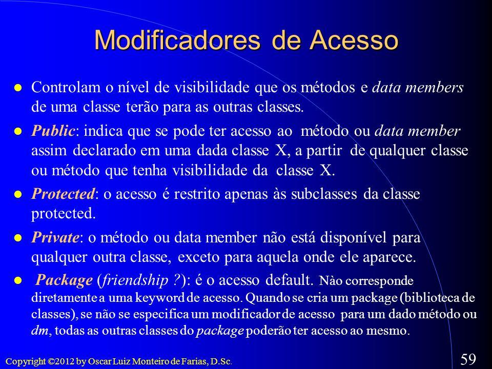 Copyright ©2012 by Oscar Luiz Monteiro de Farias, D.Sc. 59 Modificadores de Acesso Controlam o nível de visibilidade que os métodos e data members de