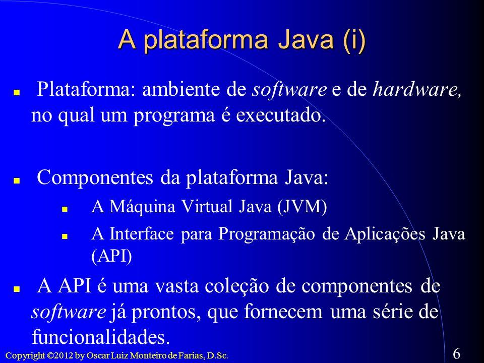 6 A plataforma Java (i) Plataforma: ambiente de software e de hardware, no qual um programa é executado. Componentes da plataforma Java: A Máquina Vir