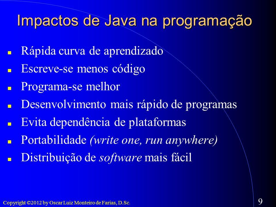 Copyright ©2012 by Oscar Luiz Monteiro de Farias, D.Sc. 9 Impactos de Java na programação Rápida curva de aprendizado Escreve-se menos código Programa