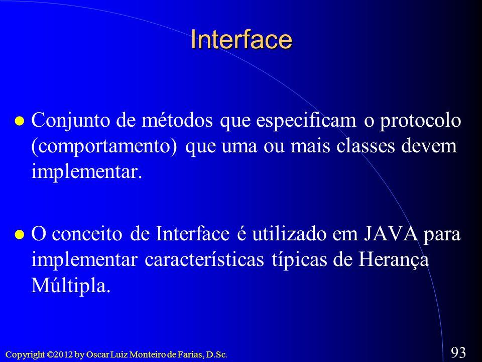 Copyright ©2012 by Oscar Luiz Monteiro de Farias, D.Sc. 93 Interface Conjunto de métodos que especificam o protocolo (comportamento) que uma ou mais c
